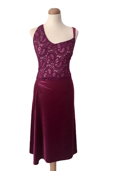 Fuchsia Sexy Velvet/Lace Tango Dress