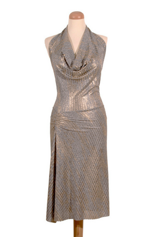 Silver Gold Tango Dress with Draped Neck