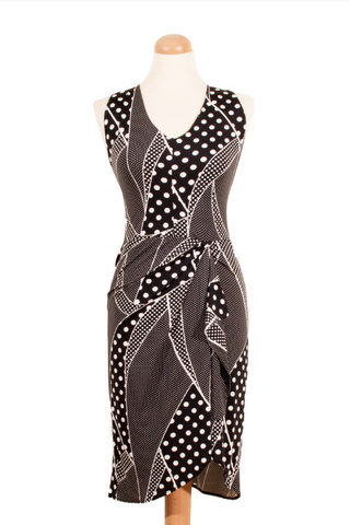 Black & white wrap tango dance dress
