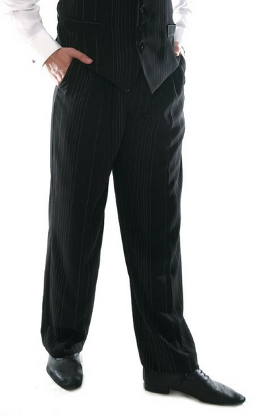 Men's black pants with irregular white stripes for argentine tango