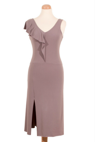 Elephant Gray Tango Dress with Asymmetric Back & Ruffled Bust