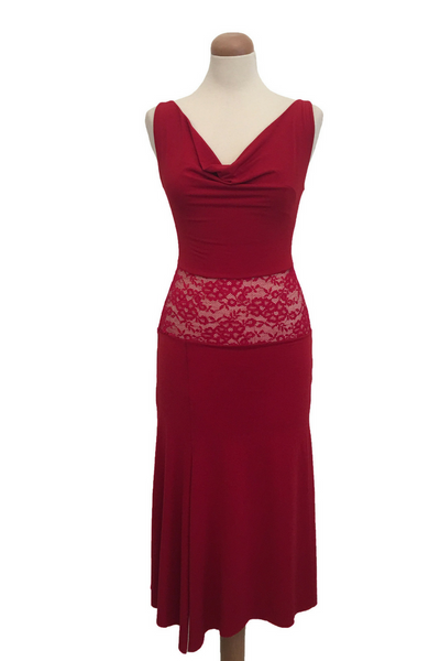 Red tango dress with lace waist