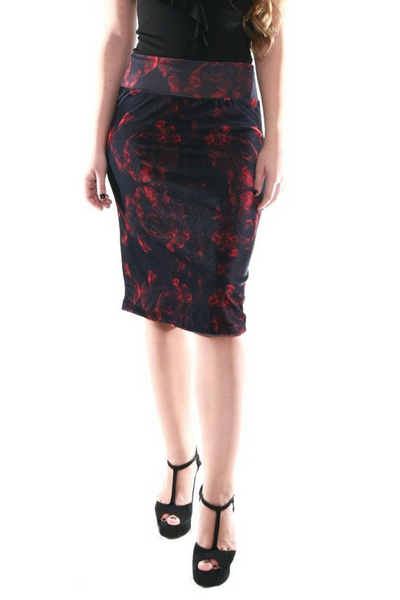 Black velvet pencil skirt