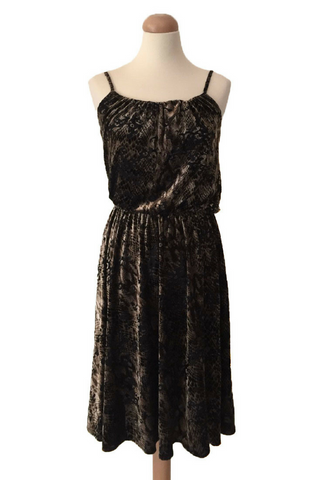 Brown velvet swing dress in animal print