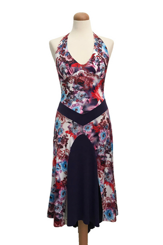 Floral tango dress with long fishtail