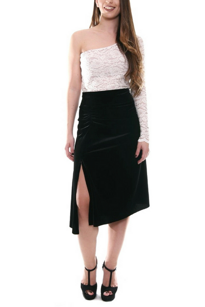 Black velvet tango skirt with gatherings and slits