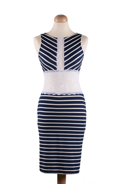 Dark blue striped bodycon tango dress with lace details