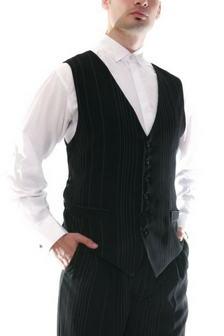 Men's black tango vest with irregular white stripes