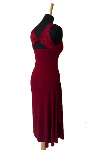 Burgundy argentine tango dress with lace details and rich side draping