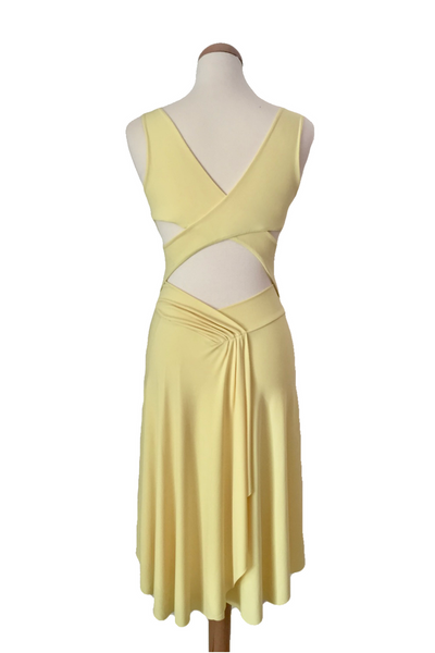 Yellow Crisscross Dress with Back Draping