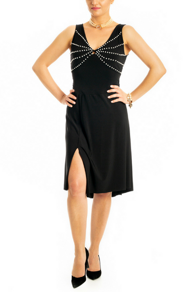 Tango Dress with Pearl Beads - Black