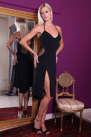 conDiva Black Milonga Dress with Tulle Accents