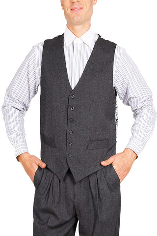 Men's Dark Gray Tango Vest With Black&White Satin Back