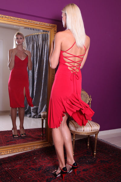 Red Lace-up Milonga Dress