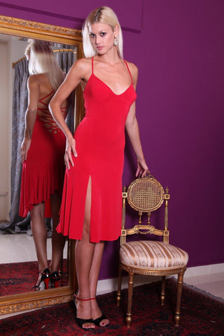 conDiva Red Slitted Lace-up Milonga Dress