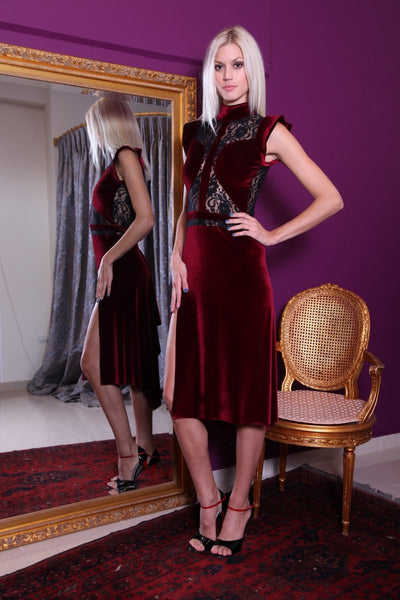 Burgundy Velvet Tango Dress with Lace Details