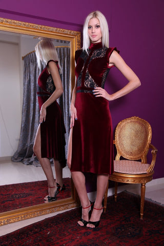 conDiva Burgundy Velvet Tango Dress with Lace Details