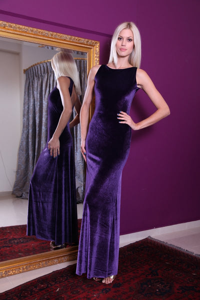 conDiva Purple Maxi Velvet Gown with Open Back