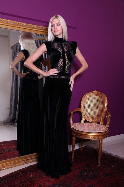 conDiva Black Velvet Lace Gown