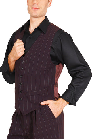 Men's Striped Eggplant Tango Vest With Satin Back