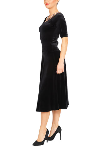 Fit-and-flare Black Velvet Dress