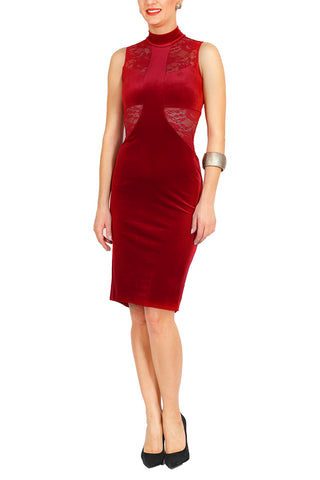 Red Velvet Fishtail Tango Dress