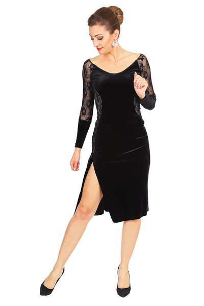 Long Sleeved Black Velvet Tango Dress with Lace Details