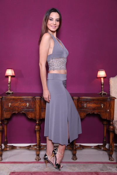 conDiva Gray Jersey Tango Crop Top With Lace