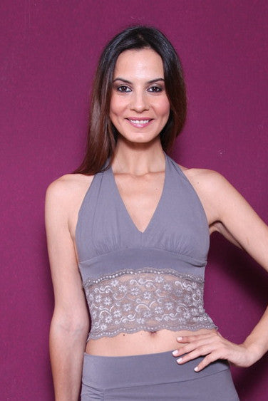 conDiva  Elephant Gray Tango Crop Top with Lace