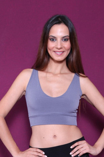 conDiva Gray Jersey Crop Top With Cutout Back