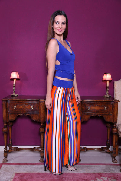 conDiva Electric Blue Jersey Top With Crisscross Back
