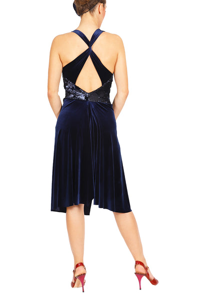 Dark Blue Velvet Tango Dress with Sequins