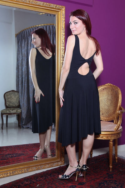 conDiva Black Tango Dress with Keyhole Cutout