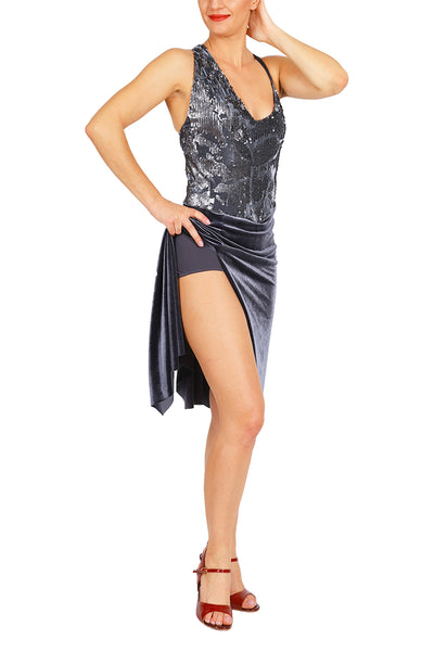 Dark Gray Velvet Tango Dress with Sequins