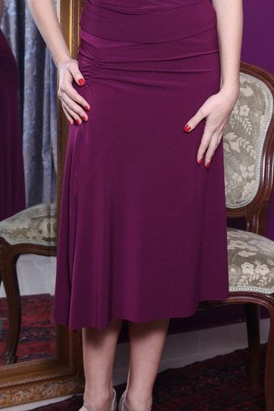 conDiva Eggplant Jersey Gathered Skirt with Slits
