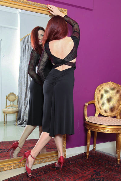 conDiva Black Long-sleeve Tango Dress with Crisscross Back