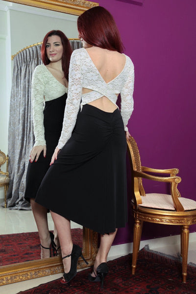 conDiva Black and White Long-sleeve Tango Dress with Crisscross Back