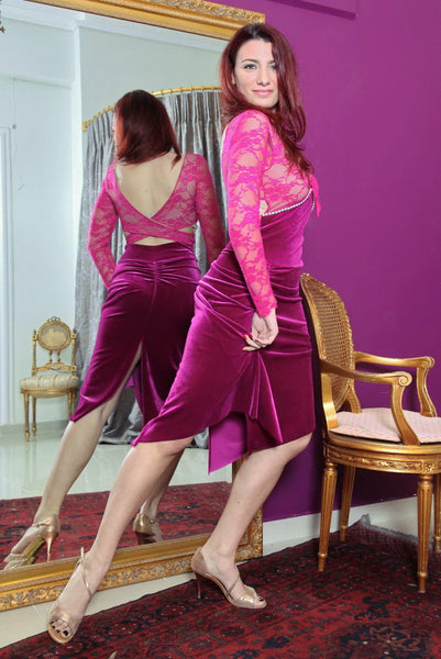 conDiva Long Sleeve Plunging Velvet Tango Dress with Pearls