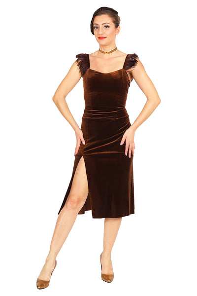 Brown Velvet Dress with Feather Details