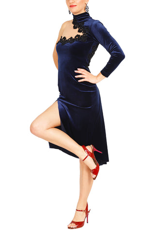 One-shoulder Velvet Tango Dress