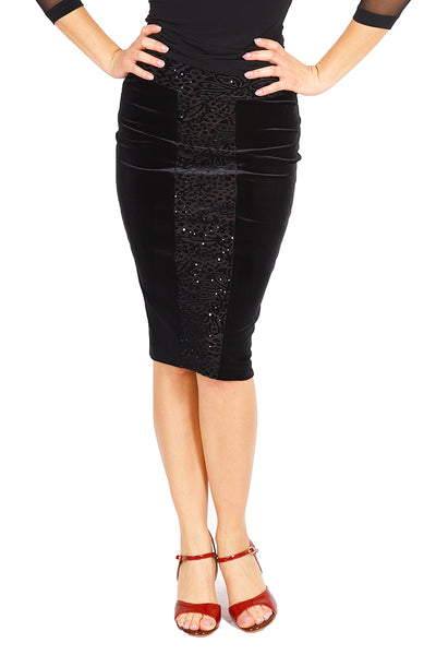 Pencil Skirt in Black Velvet with Sequins