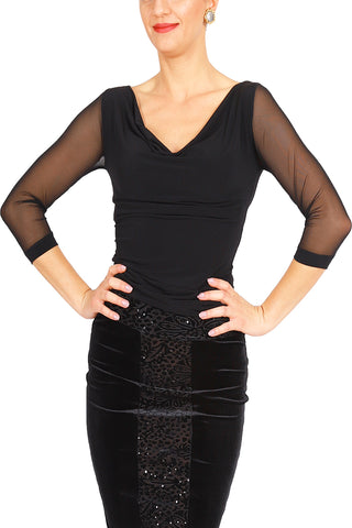 Black Tango Top With Tulle Sleeves