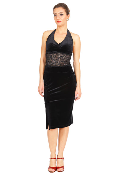 Pencil Velvet Tango Skirt with Slits