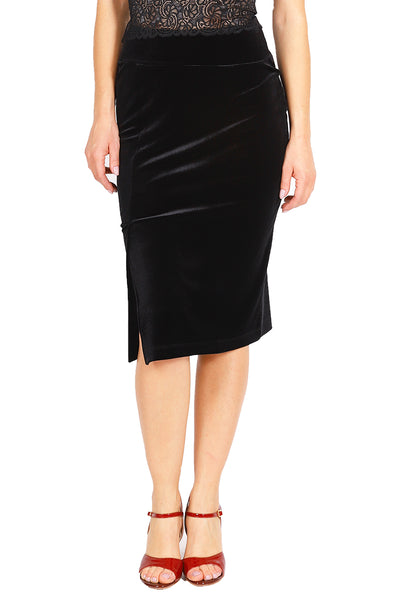 Black Pencil Velvet Tango Skirt with Slits