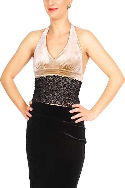 Golden Champagne Velvet Tango Crop Top with Lace