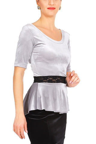 Silver Velvet Top With Ruffled And Lace Details