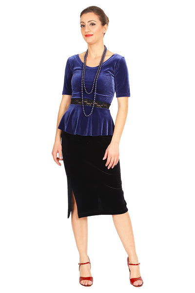 Dark Blue Velvet Top With Ruffled And Lace Details