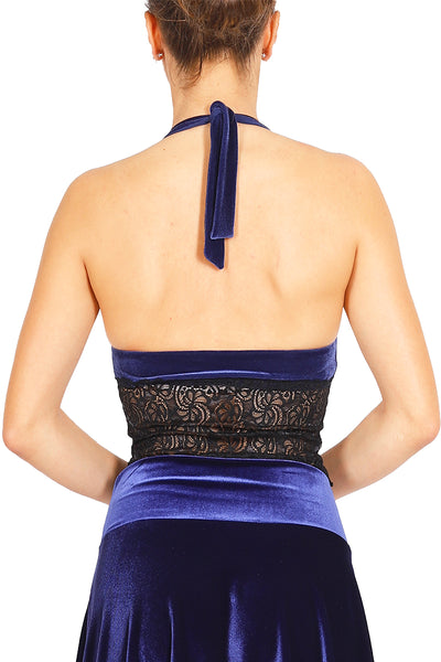 Electric Blue Velvet Tango Crop Top with Lace