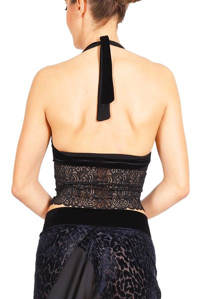 Black Velvet Tango Crop Top with Lace
