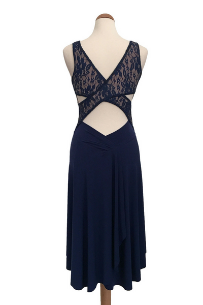 Crisscross Tango Dress with Lace & Back Draping - Dark Blue